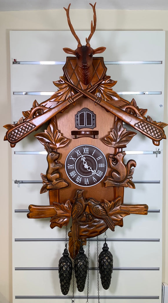 Large Quartz Cuckoo Clock with Reindeer & Woodland Scene