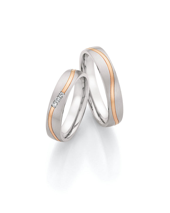 Steel Wedding Ring with Rose Gold Wavy Stripe