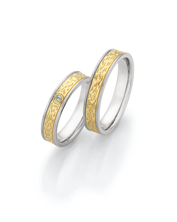 Steel Wedding Ring with Yellow Gold Textured Centre