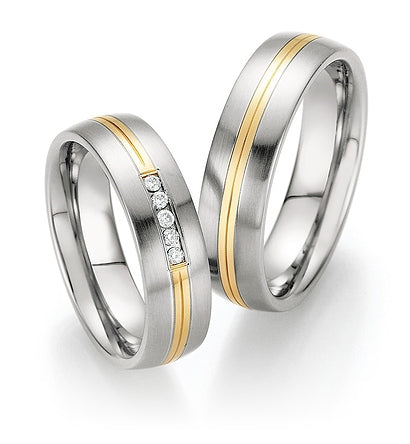 Steel Wedding Ring with 14K Yellow Gold Double Centre Stripe