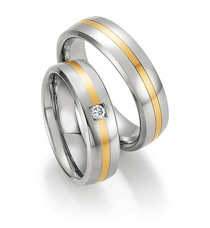 Steel Wedding Ring with 14K Yellow Gold Centre Stripe