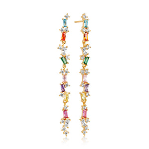 SIF JAKOBS EARRINGS ANTELLA LUNGO WITH MULTICOLOURED ZIRCONIA - 18K GOLD PLATED