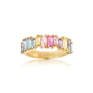 SIF JAKOBS RING ANTELLA PICCOLO - 18K GOLD PLATED WITH MULTICOLOURED ZIRCONIA