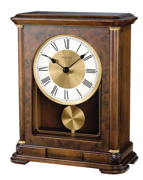 Bulova Vanderbilt Wooden Quartz Chiming Mantle Clock