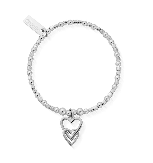 ChloBo Sterling Silver Mini Cube Interlocking Love Heart Bracelet/Child Size