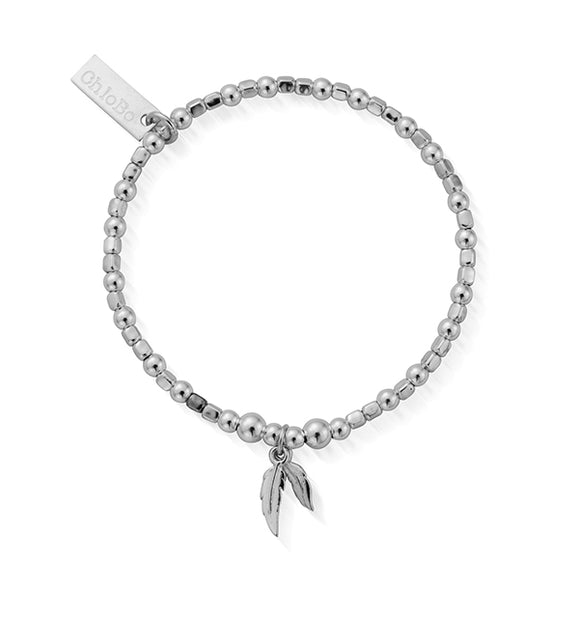 ChloBo Sterling Silver Mini Cube Double Feather Bracelet/Child Size