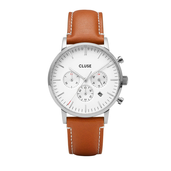 Aravis Chrono Leather Brown, Silver Colour