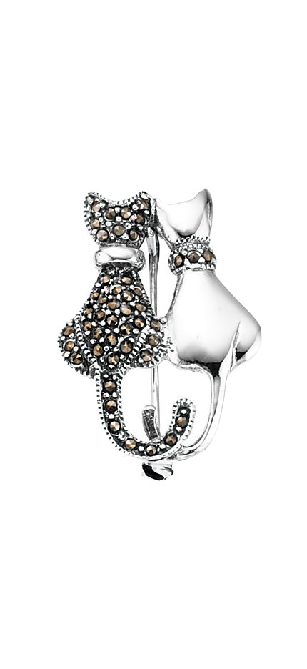 Sterling Silver Marcasite Cat Brooch