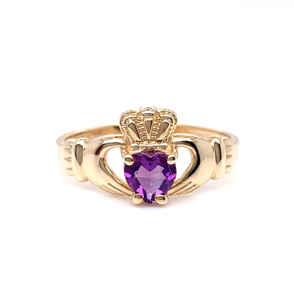 9ct Gold Amethyst Claddagh Ring