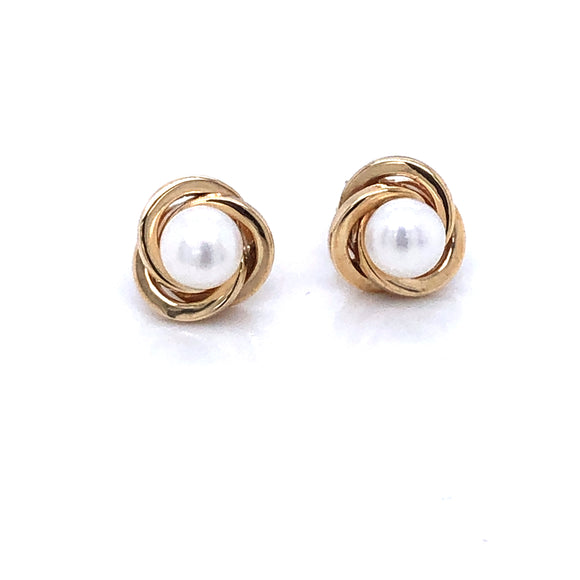 9ct Gold Pearl Knot Earrings