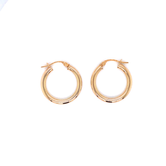 9ct Gold 15mm Small Hoop Earrings