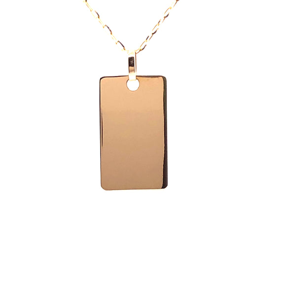 9ct Gold Rectangular Tag Disc