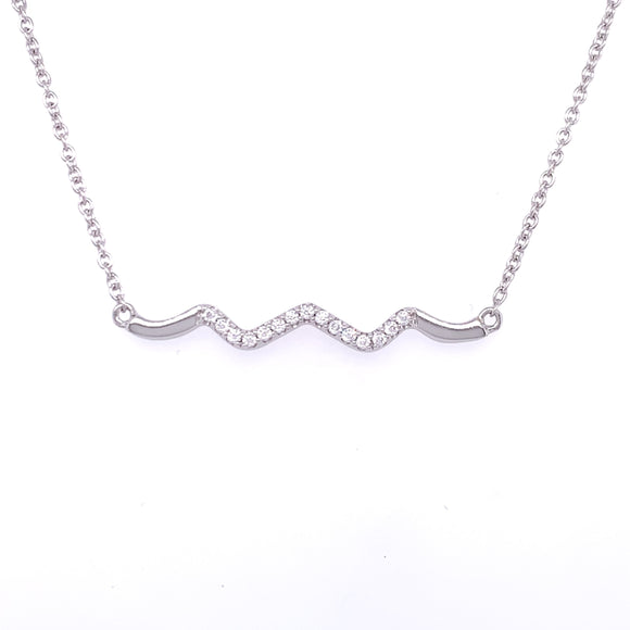 Sterling Silver CZ Zig Zag Bar Necklace
