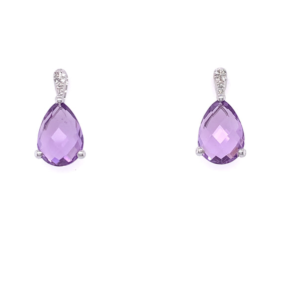 9ct White Gold Amethyst Teardrop & Diamond Stud Earrings