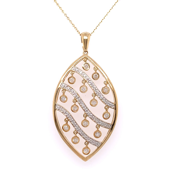 9ct Gold Diamond 0.56ct Marquise Shimmer Pendant