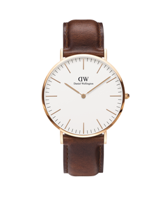 Daniel Wellington - Rose Gold 'Classic St Mawes' Brown Leather Strap 40mm Watch