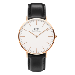 Daniel Wellington - Rose Gold 'Classic Sheffield' Black Leather Strap 40mm Watch