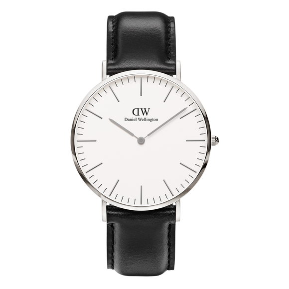 Daniel Wellington - Silver 'Classic Sheffield' Black Leather Strap 40mm Watch