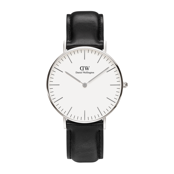 Daniel Wellington - Silver 'Classic Sheffield' Black Leather Strap 36mm Watch