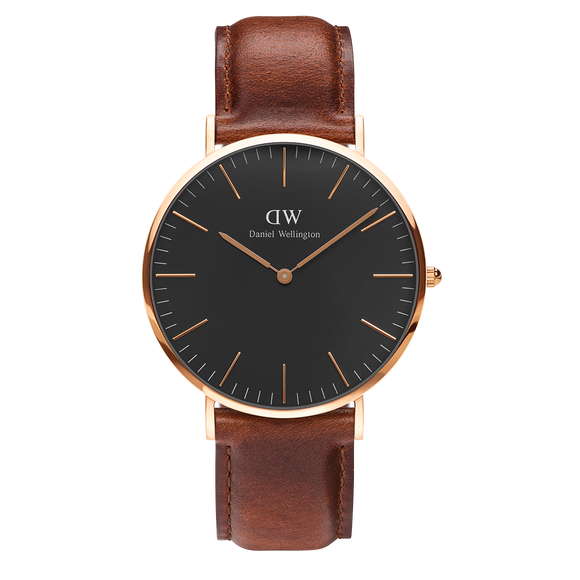 Daniel Wellington - Rose Gold 'Classic Black St Mawes' Brown Leather Strap 40mm Watch