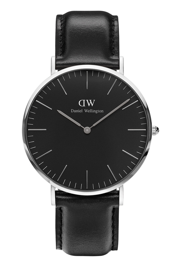 Daniel Wellington - Silver 'Classic Black Sheffield' Black Leather Strap 40mm Watch