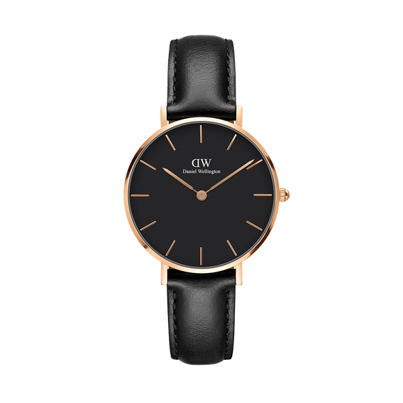 Daniel Wellington - Rose Gold 'Petite Sheffield' Black Leather Strap 32mm Watch