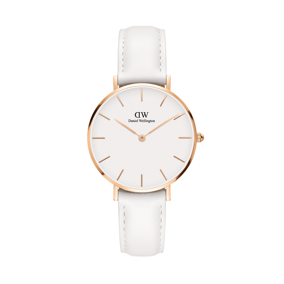 Daniel Wellington - Rose Gold 'Petite Bondi' White Leather Strap 32mm Watch