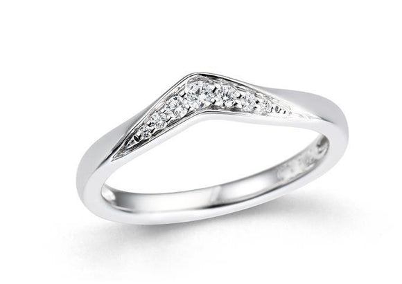 Diamond V-shaped  0.12ct Wedding Band