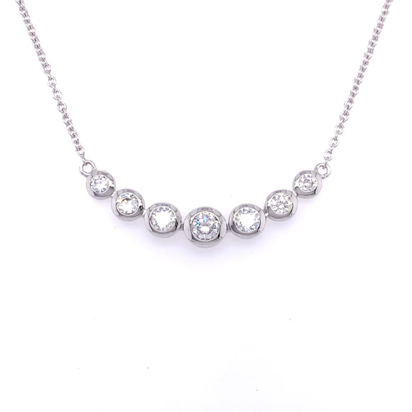Sterling Silver CZ Graduated Bubbles Necklace