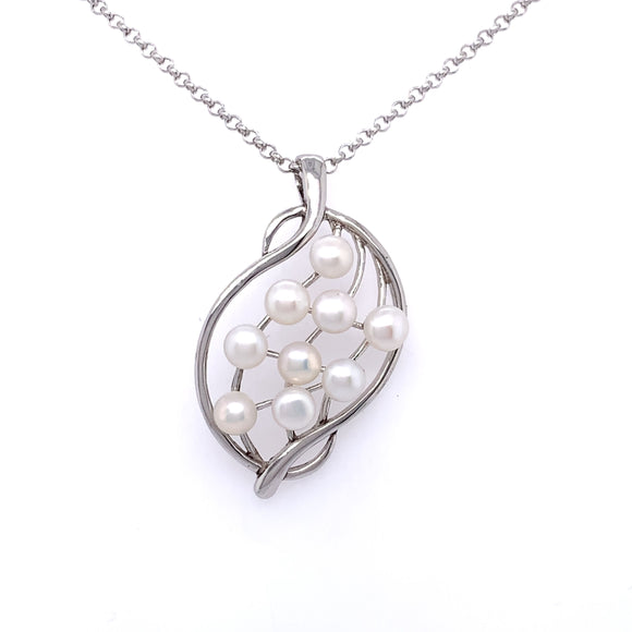 Silver Pearl Lattice Pendant