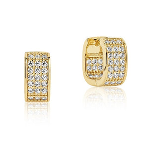 SIF JAKOBS EARRINGS MATERA - 18K GOLD PLATED WITH WHITE ZIRCONIA