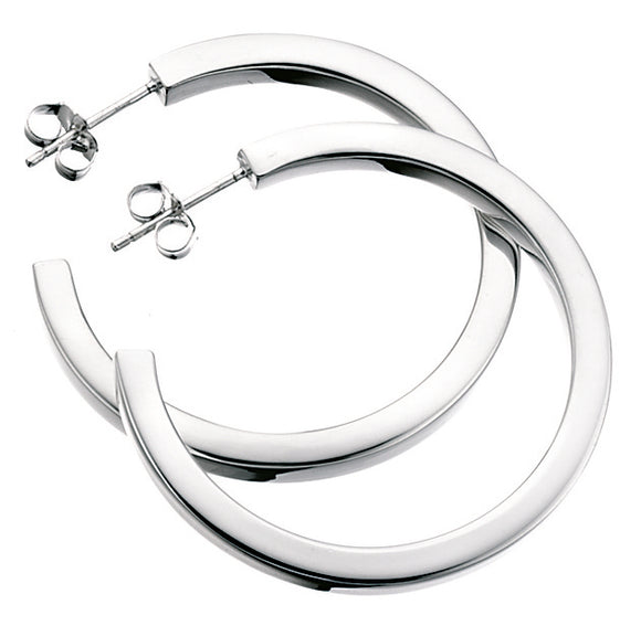 Baumann Sterling Silver Square-cut Hoop Earrings Large