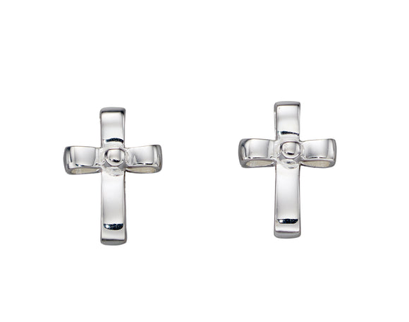 Silver Pearl Ribbon Effect Cross Stud Earrings
