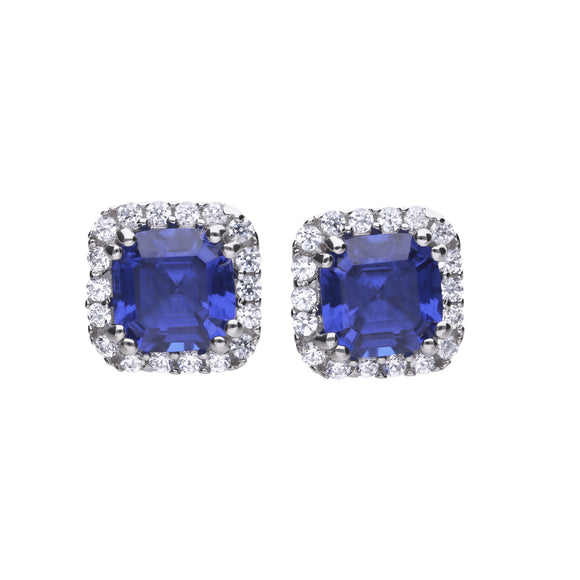 Diamonfire Zirconia Blue Square Halo Earrings