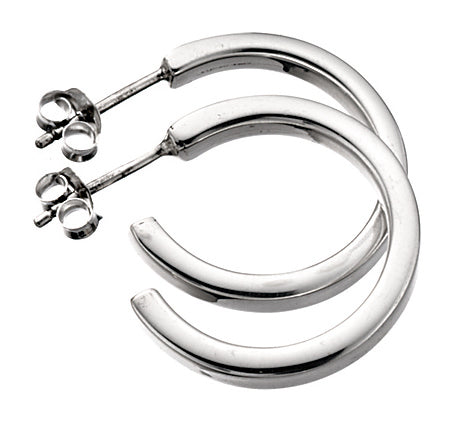 Baumann Sterling Silver Square-cut Hoop Earrings Medium
