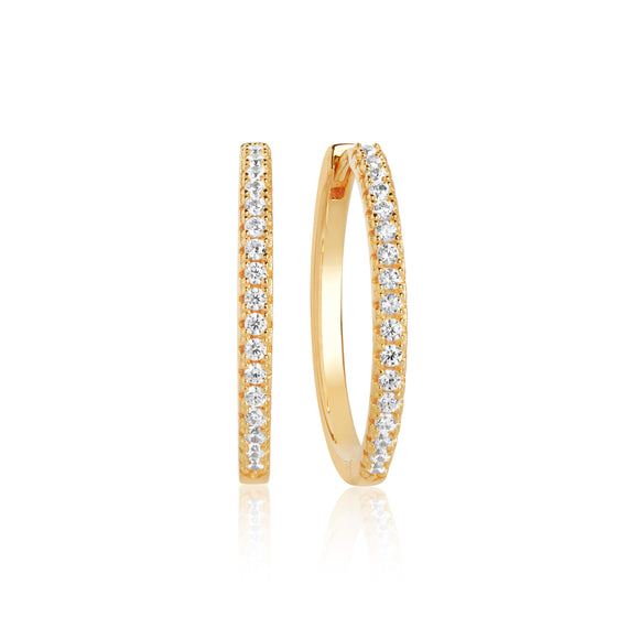 SIF JAKOBS EARRING ELLERA X-GRANDE WITH WHITE ZIRCONIA - 18K GOLD PLATED
