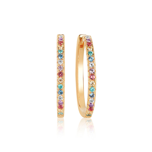 SIF JAKOBS EARRING ELLERA X-GRANDE WITH MULTICOLOURED ZIRCONIA - 18K GOLD PLATED