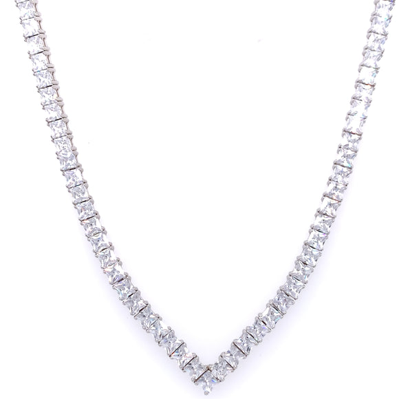 Sterling Silver Princess CZ Tennis Line V Necklet