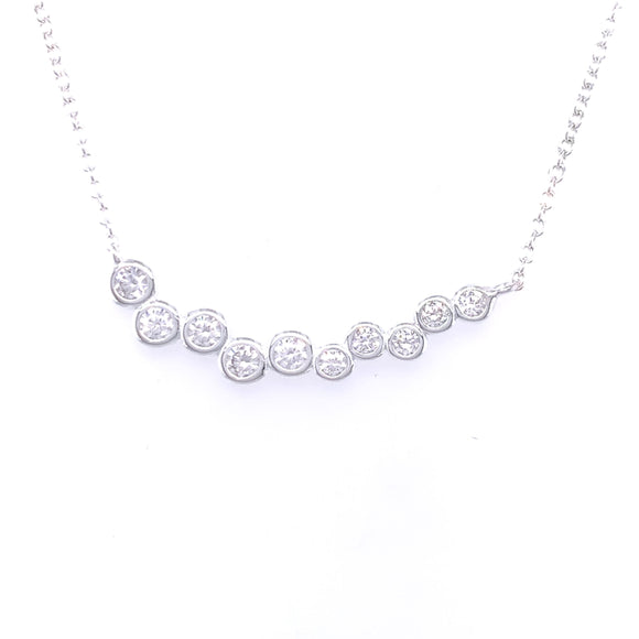 Sterling Silver CZ Bubbles Bar Necklace