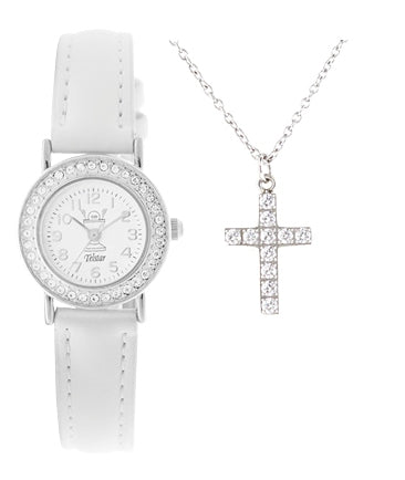 Telstar Watch & CZ Cross Communion Set