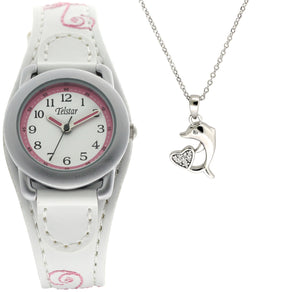 Telstar Watch & Silver Dolphin Necklace Set