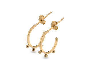 9ct Gold Bead Hoop Earrings