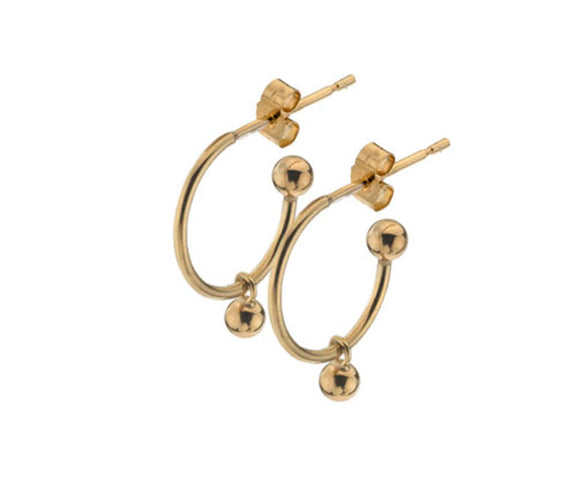 9ct Gold Hoop with Ball Dropper Stud Earrings