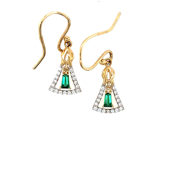 9ct Gold  Synthetic Emerald & CZ  Art Deco Earrings