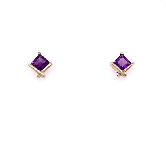9ct Gold Amethyst Square Stud Earrings