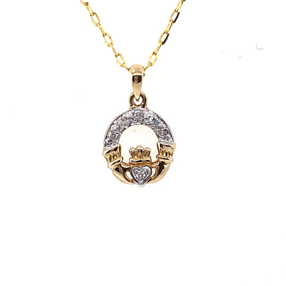 9ct Gold Claddagh CZ Pendant