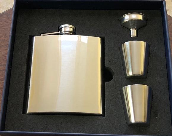 Steel 6oz Hipflask with Cups