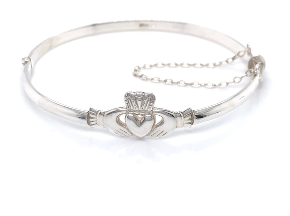 Sterling Silver 3.5mm Claddagh Bangle