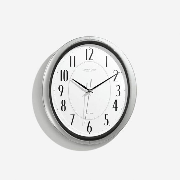 London Clock Co Oval Silver Quartz Wall Clock