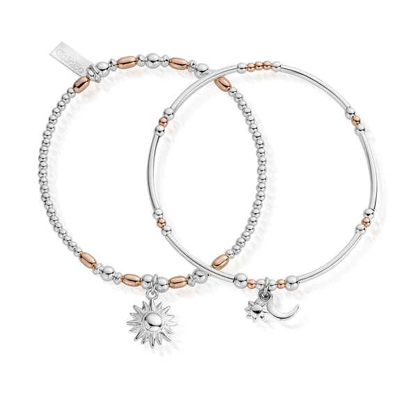 ChloBo Sterling Silver/Rose Gold Plate Dusk to Dawn Set of 2 Bracelets